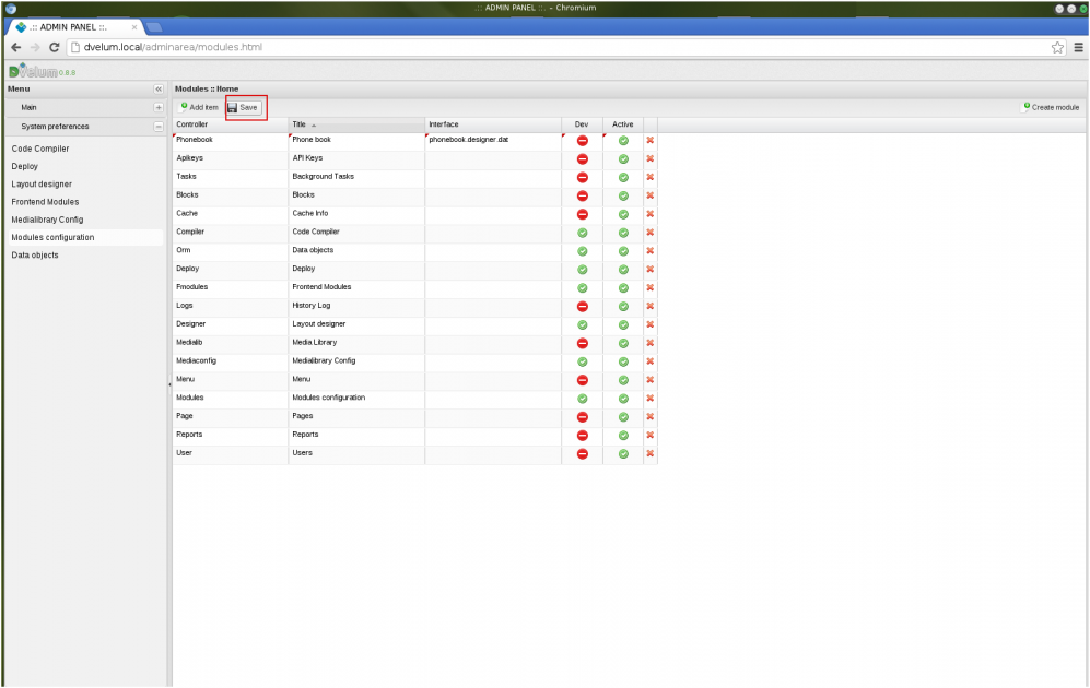 A simple web application created on the DVelum platform: Phone book ...